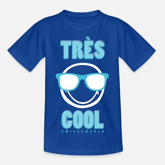 Officialbrands T-shirts - SmileyWorld Très Cool Lunettes Reflecteur - T-shirt Ado bleu royal