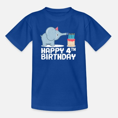 Four Candles Happy Birthday! 4th birthday elephant cake candles - Teenage T-Shirt