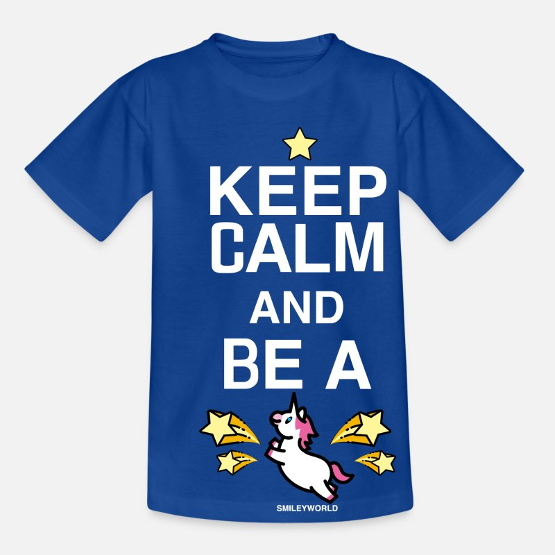 Licorne T-shirts - SmileyWorld Licorne Keep Calm Be A Unicorn - T-shirt Ado bleu royal