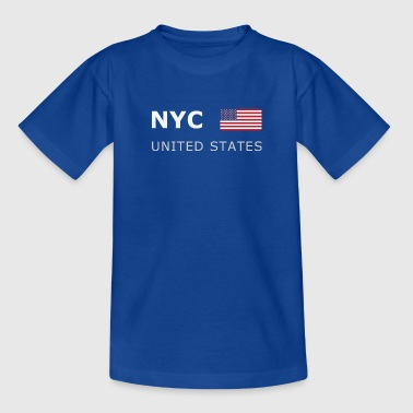 NYC UNITED STATES white-lettered 400 dpi - Teenager-T-shirt