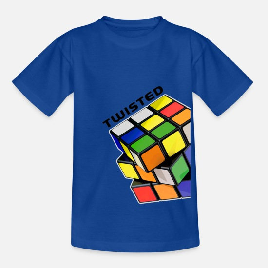 Rubik's Cube T-shirts - Rubik's Twisted Cube tilted - T-shirt teenager kongeblå