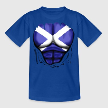 Scotland Flag Ripped Muscles, six pack, chest t-shirt - Teenage T-shirt