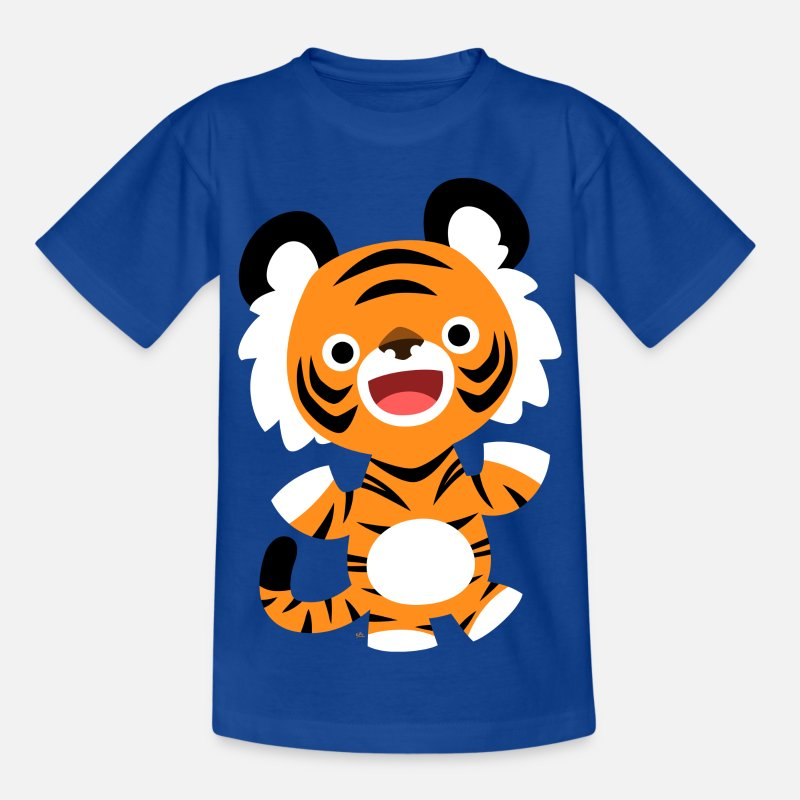 2010 T-Shirts - Cute Merry Cartoon Tiger by Cheerful Madness!! - Teenage T-Shirt royal blue