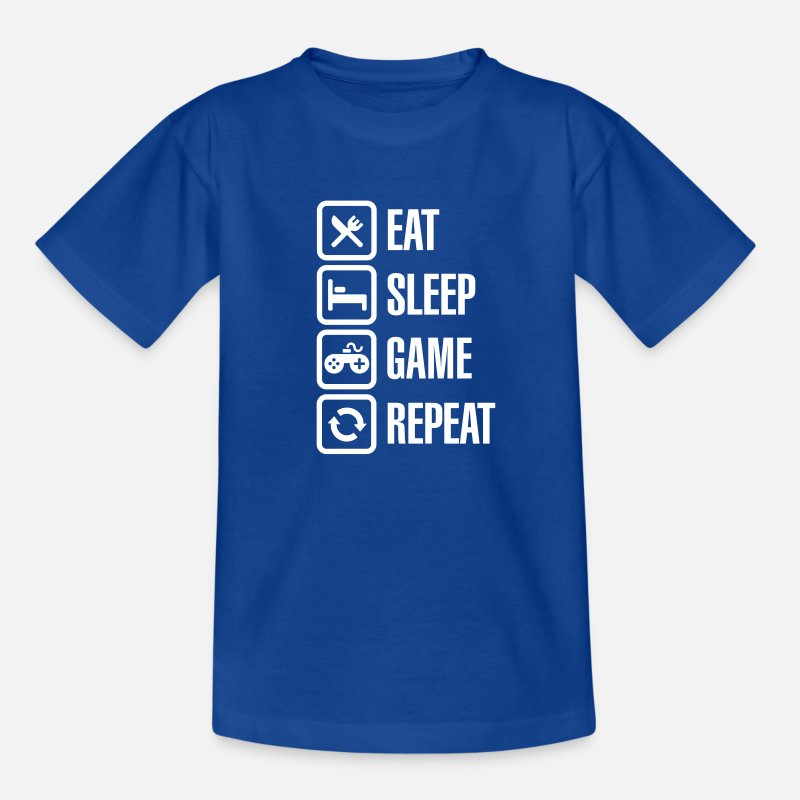 Game T-Shirts - Eat sleep game repeat - Teenage T-Shirt royal blue