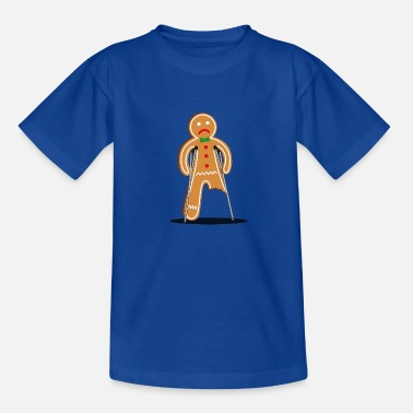gingerbread man hurt (blue) - Teenage T-Shirt