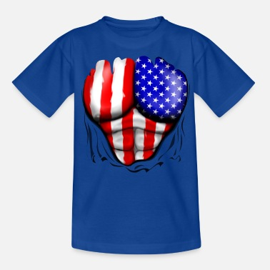Old Glory USA Flag Ripped Muscles, six pack, chest t-shirt - Teenage T-Shirt