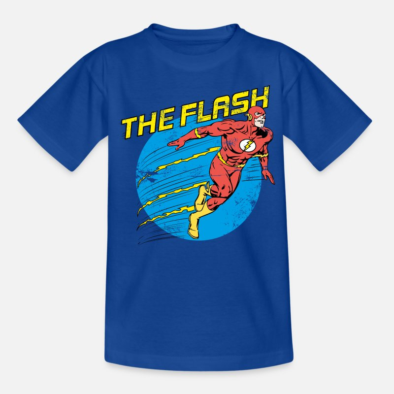 Super Héros T-shirts - The Flash Comic Ado Tee Shirt - T-shirt Ado bleu royal