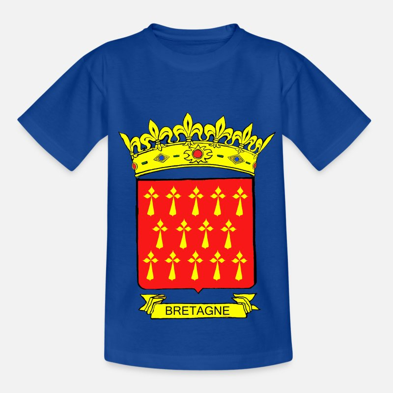 Normandie T-shirts - BLASON ROUGE BRETAGNE HERMINE OR COURONNE - T-shirt Ado bleu royal