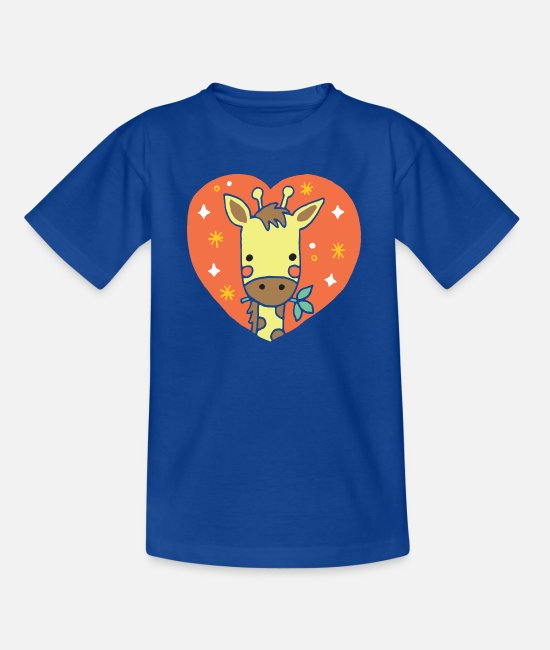 Heart T-Shirts - Giraffe heart gift - Teenage T-Shirt royal blue