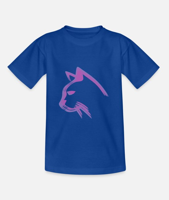 Design T-Shirts - Cats Illusions 3d colored designs - Teenage T-Shirt royal blue