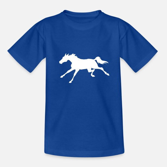 Hoppe T-shirts - Hest galopperende - T-shirt teenager kongeblå