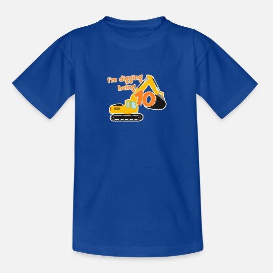 Construction T-Shirts - Excavator construction worker child birthday boy 10 years - Teenage T-Shirt royal blue