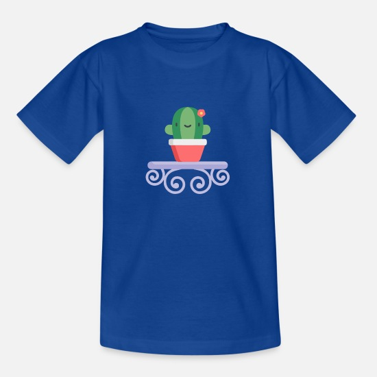 Blumentopf T-Shirts - Cactus - Teenager T-Shirt Royalblau