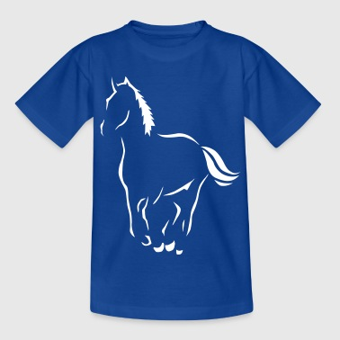 Outline art Riding Pony Horse Art  - Teenage T-shirt