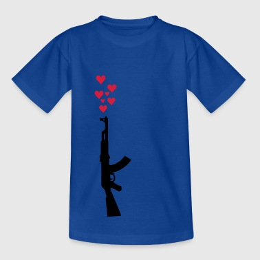 AK47 anti-war theme arms and hearts   - Teenage T-shirt