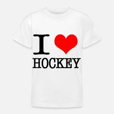 44769c9a6ea I Love Hockey I love hockey - black - Teenage T-Shirt