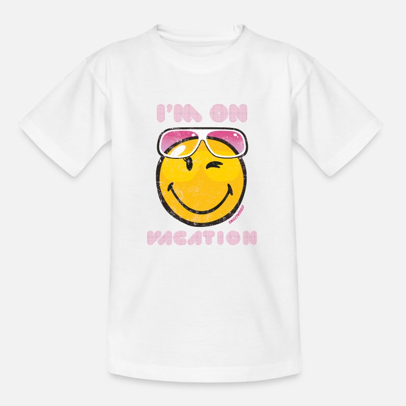 "Comic T-Shirts - Smiley World ""I'm on vacation"" Teenager T-Shirt - Teenager T-Shirt Weiß"