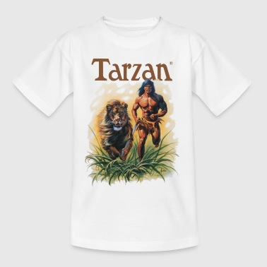 Tarzan Running Lion Through Wilderness - Teenage T-Shirt