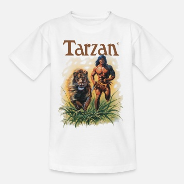 Tarzan Tarzan Running Lion Through Wilderness - Maglietta per ragazzi