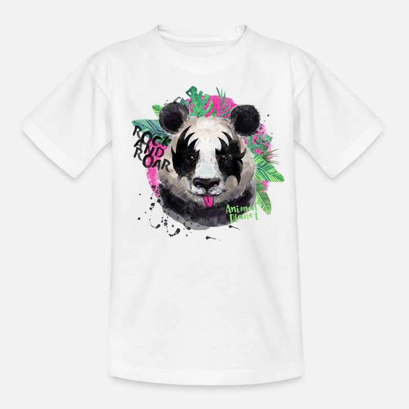 Animals T-Shirts - Animal Planet Giant Panda Rock And Roar - Teenage T-Shirt white
