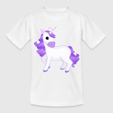 Pretty Purple Unicorn Cartoon - Teenage T-Shirt
