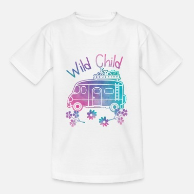 Child Wild Child Watercolor Hippie Movement Camping - Teenage T-Shirt