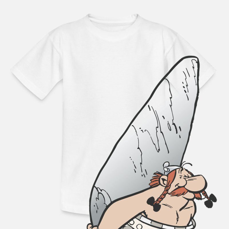 Asterix T-Shirts - Asterix & Obelix - Obelix with stone Teenager T-Sh - Teenager T-shirt wit
