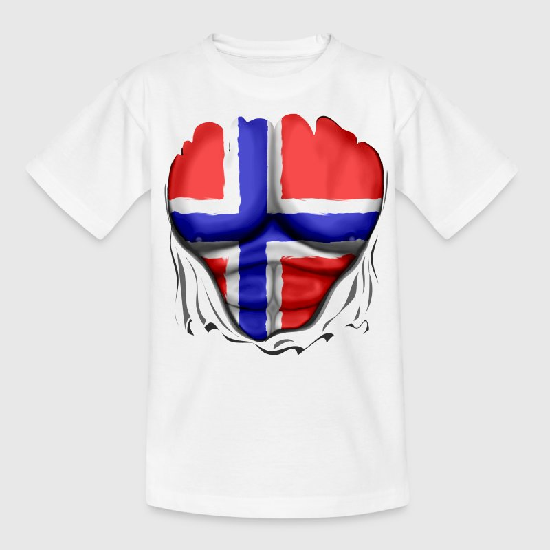 Norge Flagg Ripped Muskler - T-shirt tonåring