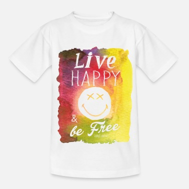 Spreadshirt SmileyWorld Live Happy & be Free - Teenager T-shirt