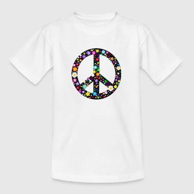 1960s Flower Peace Sign Buttons - Teenage T-Shirt