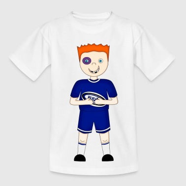 Cartoon Rugby Player in Blue Kit - Teenage T-Shirt