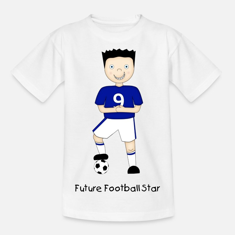 Sporty T-Shirts - Cartoon Football Plater in Blue and White Strip - Teenage T-Shirt white
