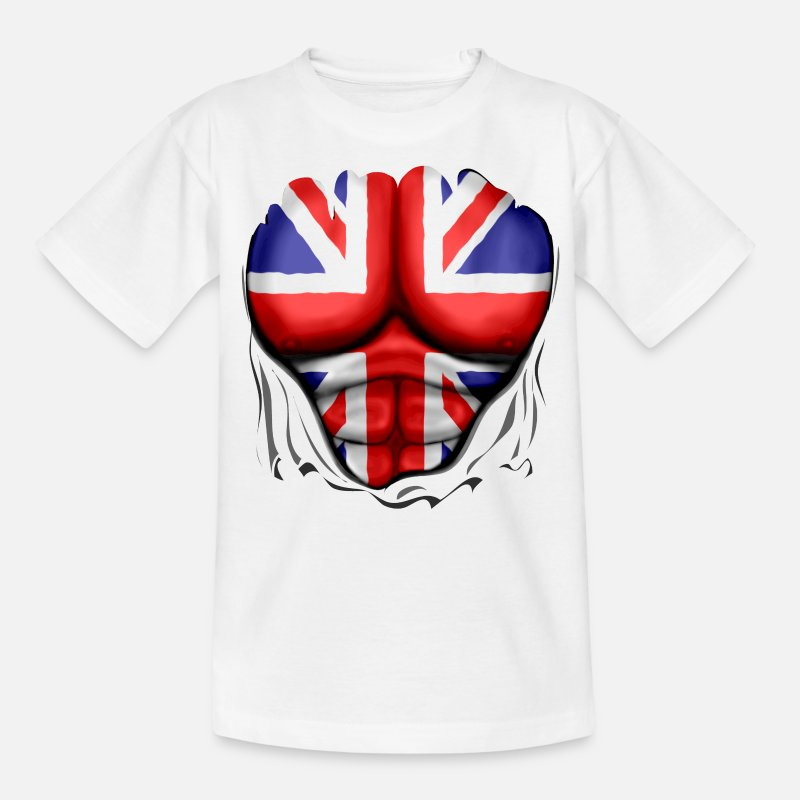 Bestsellers Q4 2018 T-Shirts - UK Flag Ripped Muscles, six pack, chest t-shirt - Teenage T-Shirt white