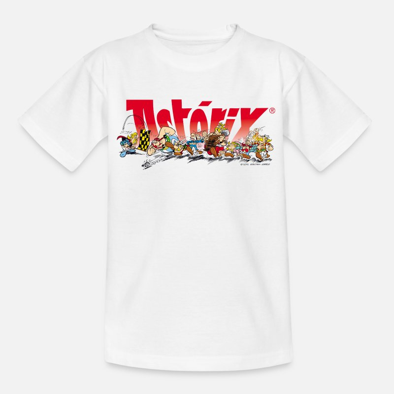 Officialbrands T-Shirts - Asterix & Obelix Start for the Run Teenager T-Shir - Teenage T-Shirt white