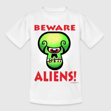 Beware Aliens! - Teenage T-shirt