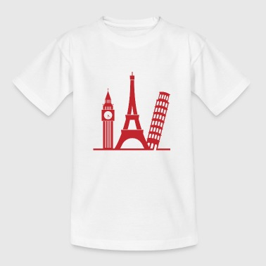 Landmasse Europa / London / Paris / Pisa - Teenager T-Shirt