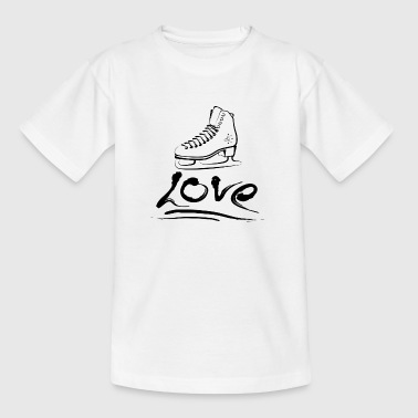 Schlittschuh Love Black  - Teenager T-Shirt