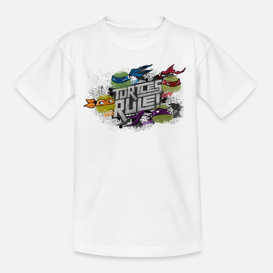 Turtles Camisetas - Teenage Shirt TURTLES 'Turtles rule!' - Camiseta adolescente blanco