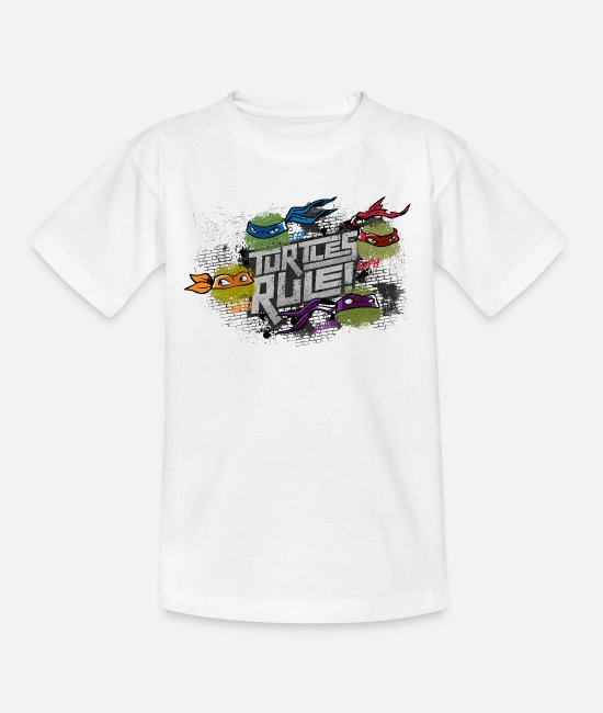 Pizza Magliette - Teenage Shirt TURTLES 'Turtles rule!' - Maglietta per teenager bianco