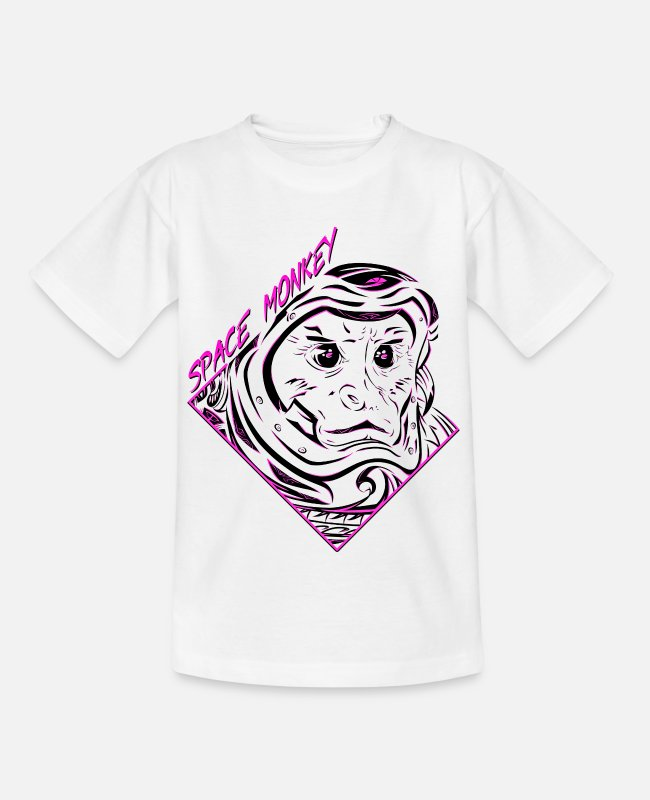 Space T-Shirts - Space Monkey (PINK) - Teenage T-Shirt white