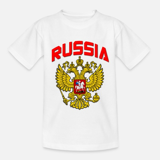 Country T-shirts - Rusland Crest - T-shirt teenager hvid