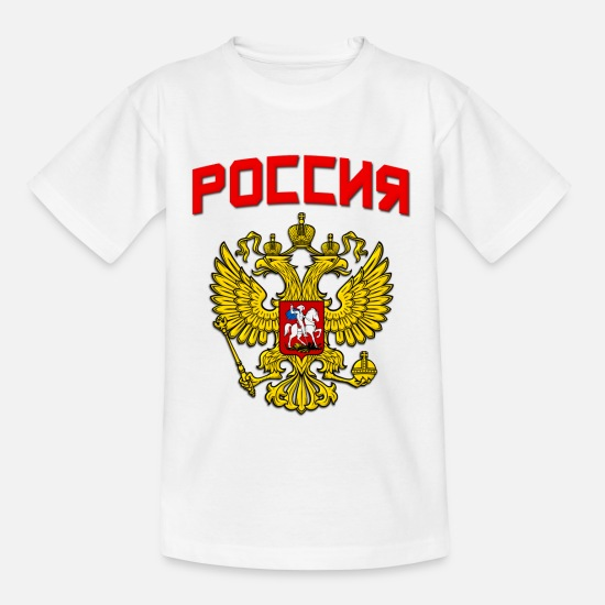 Country T-shirts - Rusland Poccnr Crest - T-shirt teenager hvid