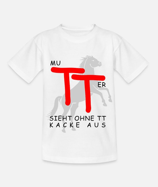 Reitschule T-Shirts - Mutter TT Turniertrottel Turnier Pferd Pferdesport - Teenager T-Shirt Weiß