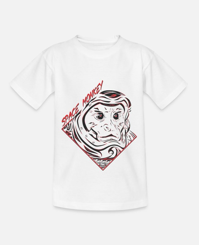 Space T-Shirts - Space Monkey (RED) - Teenage T-Shirt white