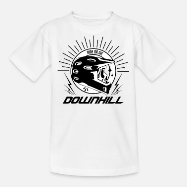 Downhill Ride or die Schaedel Helm w - Teenager T-Shirt