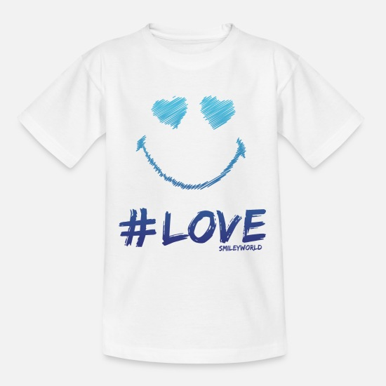 Cool Camisetas - SmileyWorld '#Love' teenager t-shirt - Camiseta adolescente blanco
