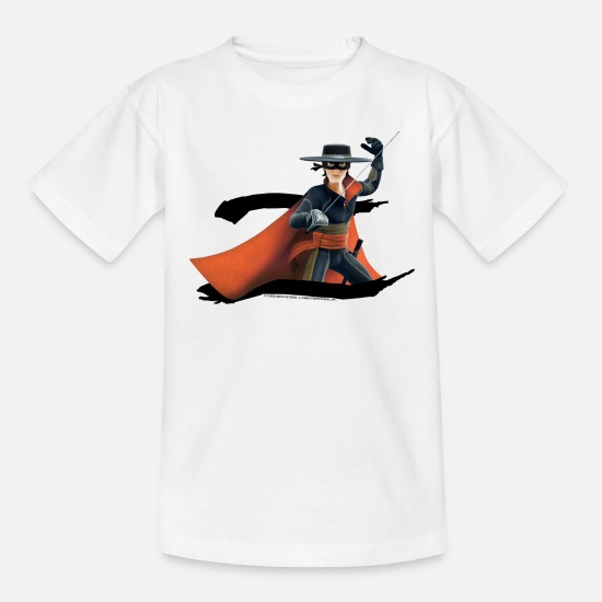 Zorro T-Shirts - Zorro The Chronicles Masked Hero And Letter Z - Teenage T-Shirt white