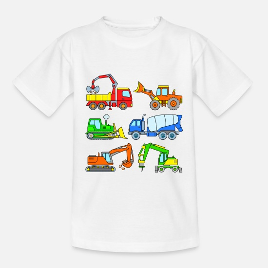 Building Site T-Shirts - Excavator and co - vehicles at the construction site - Teenage T-Shirt white
