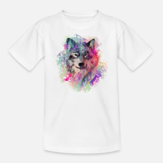 Hundeliebhaber T-Shirts - Wolf im Norden Colour version - Teenager T-Shirt Weiß