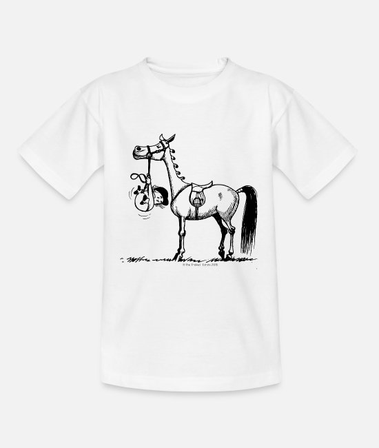 Drawing T-shirts - Koppige pony Thelwell Cartoon - Teenager T-shirt wit